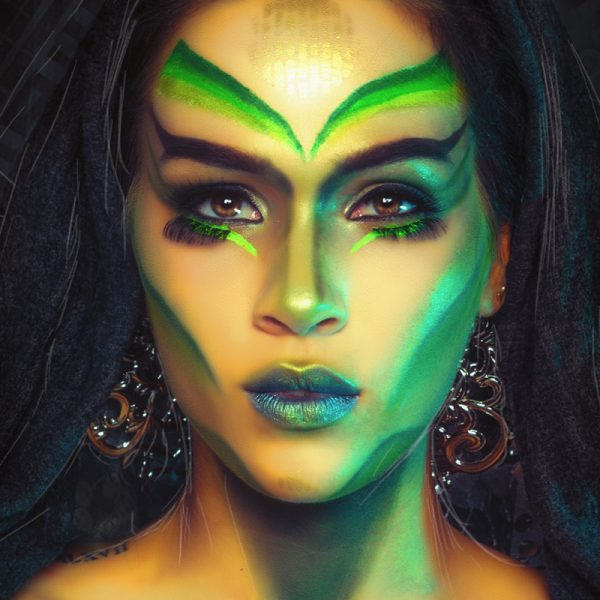 extreme visagie, alien make-up, out of space beauty, creative makeup